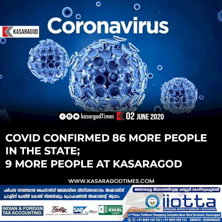 Covid confirmed 86 more people in the state; 9 more people at Kasaragod