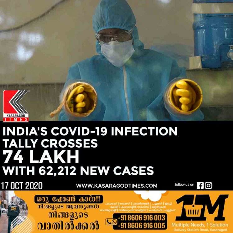 India's Covid-19 infection tally crosses 74 lakh with 62,212 new cases