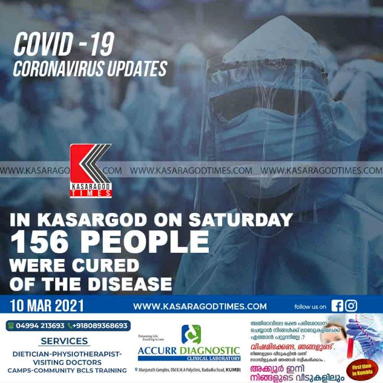 In kasargod on Saturday 156 people were cured of the disease