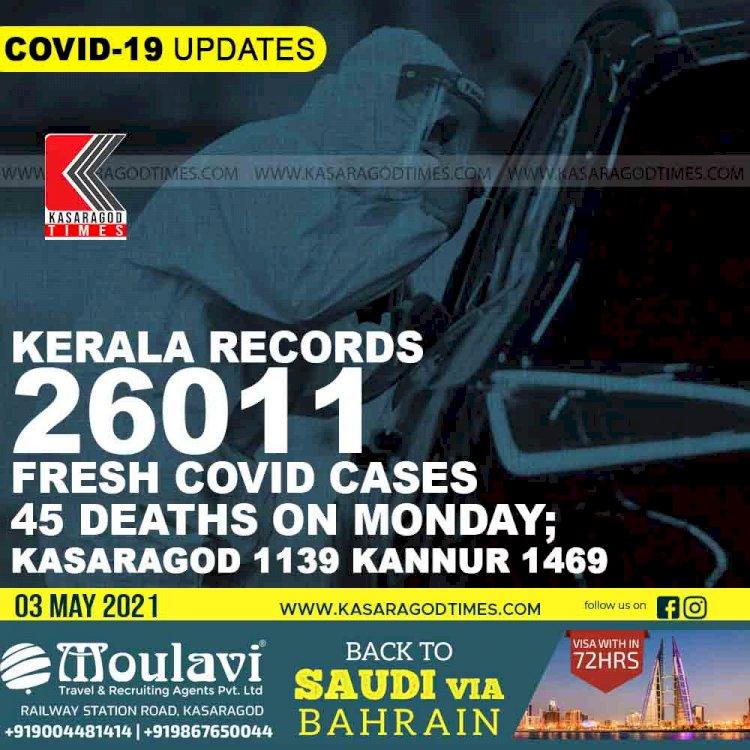 Kerala records 26011 fresh COVID cases 45 deaths on Monday; kasaragod 1139 kannur 1469