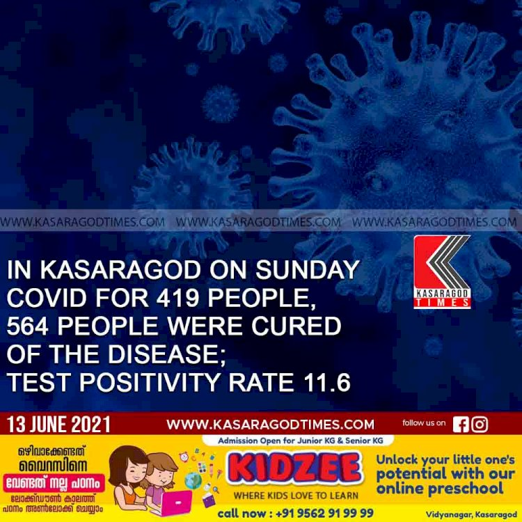 In kasaragod on sunday covid for 419 people, 564 people were cured of the disease; test positivity rate 11.6